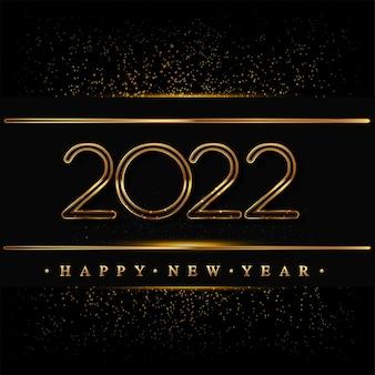 Felice anno nuovo 2022 con glitter isolato su sfondo nero, disegno di testo color oro, elementi vettoriali per calendario e biglietto di auguri.