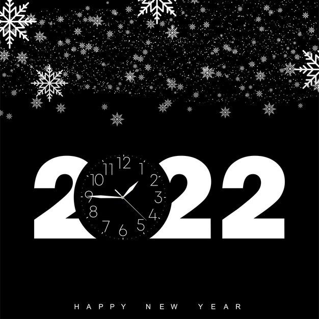 Felice anno nuovo 2022 con orologio vintage e fiocchi di neve che cadono. illustrazione vettoriale