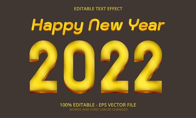 Felice anno nuovo 2022 modello di effetto stile modificabile testo 3d luce gialla