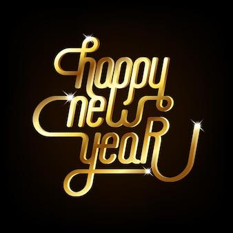 Felice anno nuovo sfondo decorativo con tipografia dorata