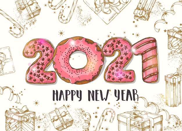 Felice anno nuovo sfondo. dessert rosa smaltato colorato disegnato a mano