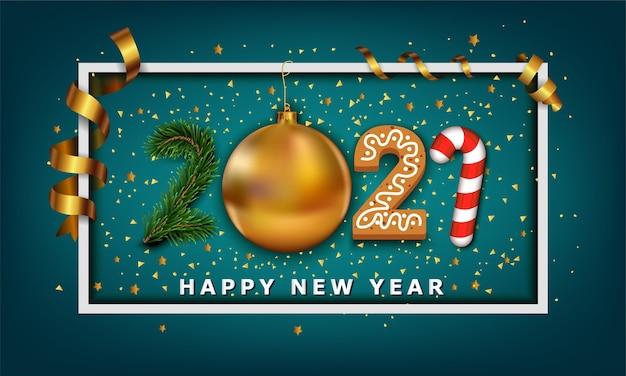 Felice anno nuovo numero di sfondo fatto da elementi di bande di pallina di natale dorata biscotto caramelle e albero di natale