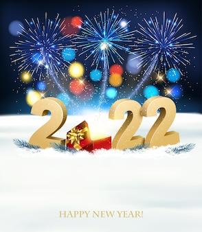 Sfondo di felice anno nuovo con 2022, scatola magica e fuochi d'artificio. vettore.