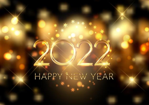 Sfondo di felice anno nuovo con luci bokeh e design di fiocchi di neve