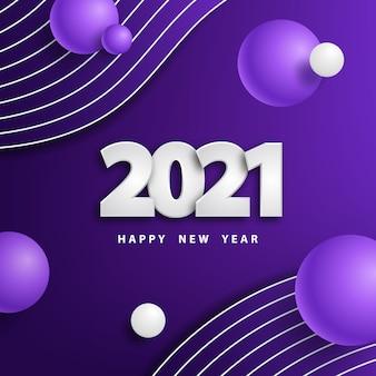 Felice anno nuovo sfondo con numeri e palline