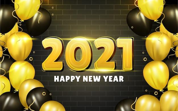 Felice anno nuovo sfondo con realistici palloncini dorati