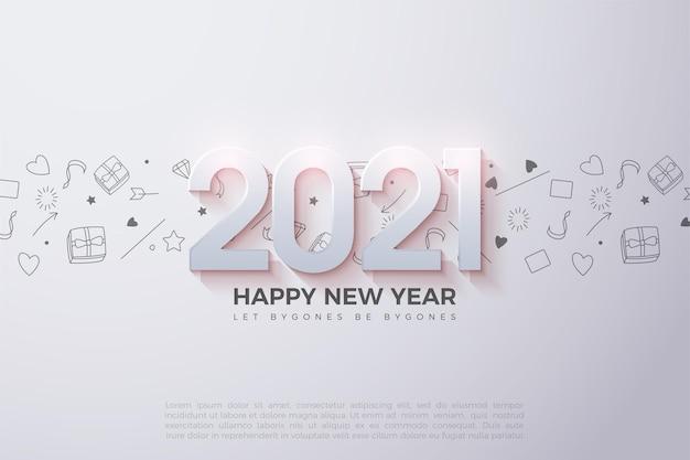 Felice anno nuovo sfondo con numeri 3d ombreggiati e piccole immagini come sfondo