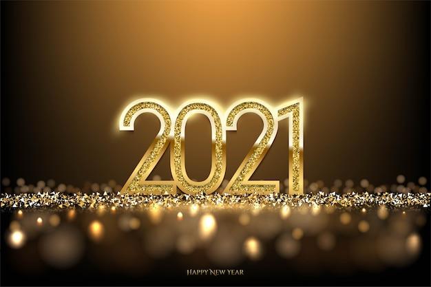 Felice anno nuovo sfondo con riflettori e luce bokeh
