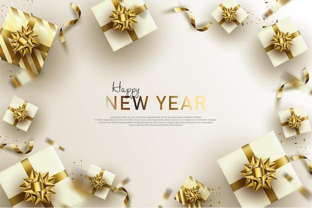 Felice anno nuovo sfondo con confezione regalo bianca e scritte in oro