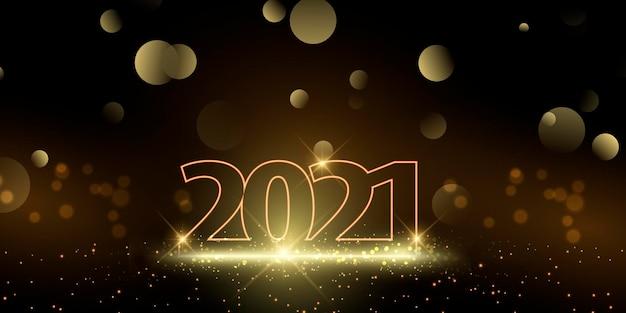 Banner di felice anno nuovo con design oro scintillante