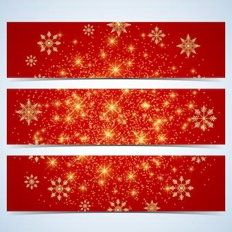 Felice anno nuovo banner. sfondo rosso con fiocchi di neve dorati. modello di design moderno.