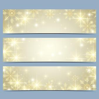 Banner di felice anno nuovo con fiocchi di neve dorati. modello moderno.