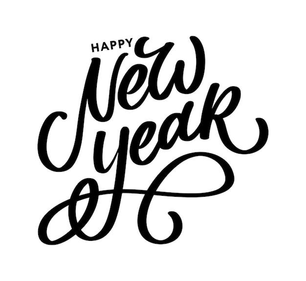 Felice anno nuovo. bello manifesto della cartolina d'auguri con i fuochi d'artificio dell'oro di parola del testo nero di calligrafia. elementi disegnati a mano.