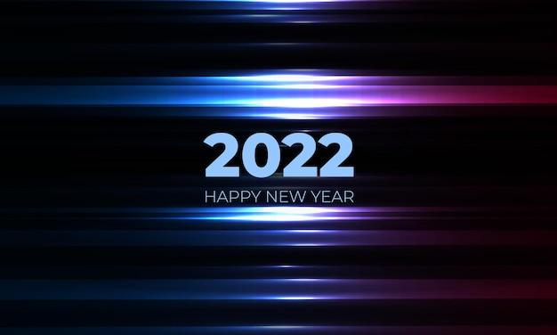 Felice anno nuovo sfondo nero con linee luminose blu e rosa