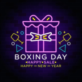Felice anno nuovo - boxing day - confezione regalo di natale neon