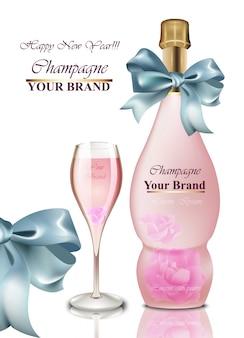 Carta di felice anno nuovo. champagne rosa con fiocco