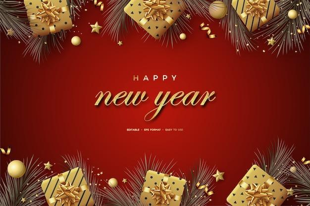 Carta di felice anno nuovo con decorazioni