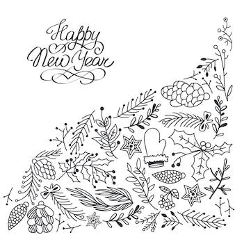 Carta di felice anno nuovo con decorazioni floreali