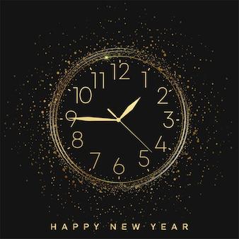 Carta di felice anno nuovo con orologio vintage dorato. vettore.
