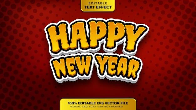 Effetto di testo modificabile 3d in stile cartone animato felice anno nuovo