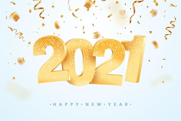 Felice anno nuovo che celebra. priorità bassa di festa di natale con i coriandoli.