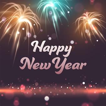 Felice anno nuovo celebrazione sfondo di fuochi d'artificio