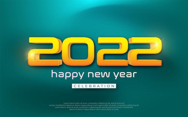 Illustrazione di celebrazione di felice anno nuovo. numero modificabile 2022 con stile 3d moderno