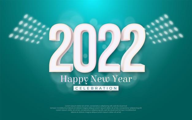 Illustrazione di celebrazione di felice anno nuovo. numero modificabile 2022 con stile 3d su sfondo blu