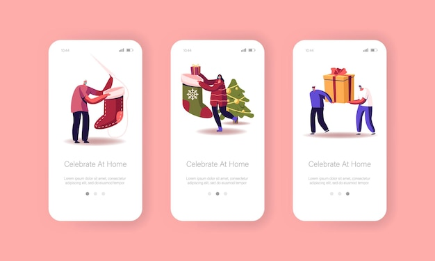 Modello di schermo integrato della pagina dell'app mobile per la celebrazione di felice anno nuovo