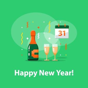 Felice anno nuovo, festa notturna, bottiglia di champagne e due bicchieri