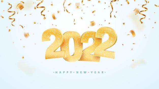 Felice anno nuovo celebrazione illustrazione vettoriale numeri di natale dorati su sfondo bianco Vettore Premium