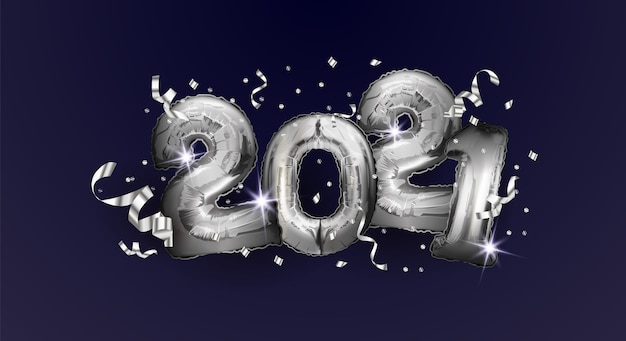 Felice anno nuovo e natale 2021. palloncini argento numeri 2021.