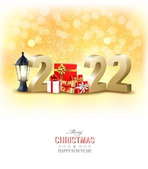 Felice anno nuovo e sfondo per le vacanze di natale con numeri 3d dorati con scatole regalo vector
