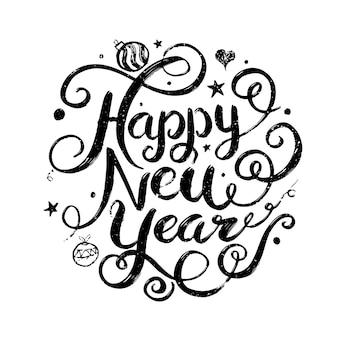 Felice anno nuovo cerchio lettering design illustrazione vettoriale per poster di cartolina d'auguri di natale e capodanno ed elemento per la promozione pubblicitaria