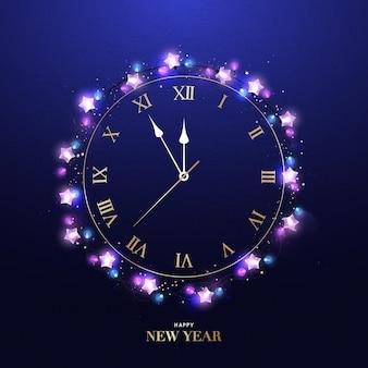 Felice anno nuovo orologio cinque minuti a mezzanotte