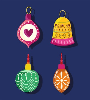 Felice anno nuovo, festa di celebrazione della decorazione delle palle di raccolta, disegno floreale per la carta