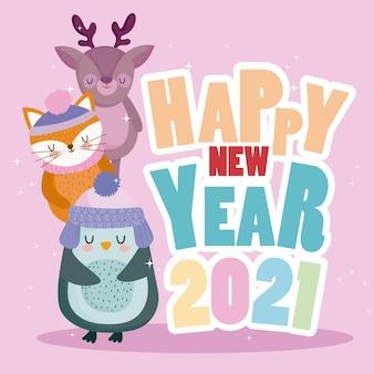 Formulazione colorata felice anno nuovo con renna volpe e pinguino