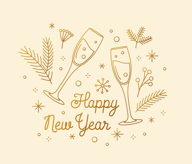 Felice anno nuovo congratulazioni biglietto di auguri concetto