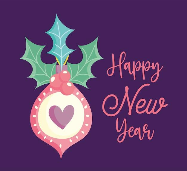 Felice anno nuovo, decorazione di frase di bacche di agrifoglio cuore palla carina, disegno floreale per carta