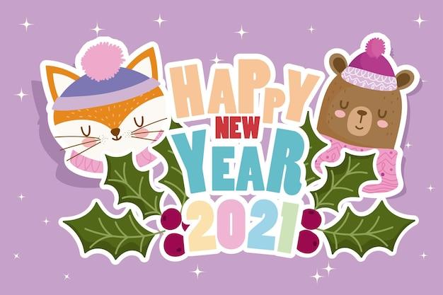 Felice anno nuovo simpatico orso e volpe con testo e bacche di agrifoglio