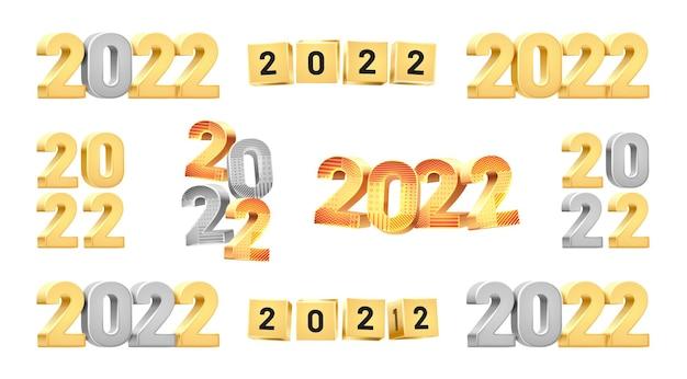 Felice anno nuovo d numeri impostati elementi di design del calendario isolati in colori argento dorato allegri