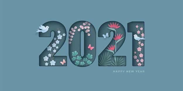 Design elegante di felice anno nuovo. cifre tagliate in carta con fiori, farfalle, uccelli