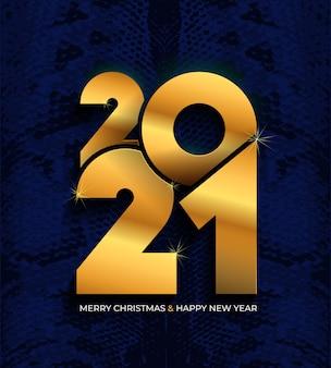 Felice anno nuovo. elegante testo in oro con luce. numeri d'oro sulla trama del serpente.