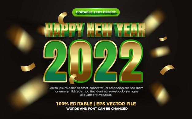 Felice anno nuovo elegante effetto di testo modificabile in grassetto oro verde 3d