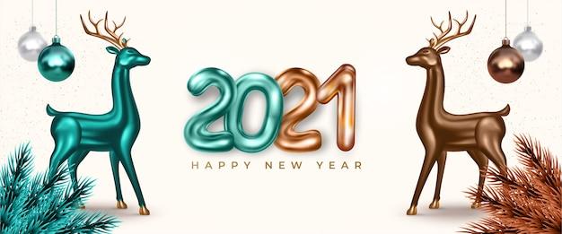 Felice anno nuovo, banner festivo con cervi 3d realistici e testo 2021.