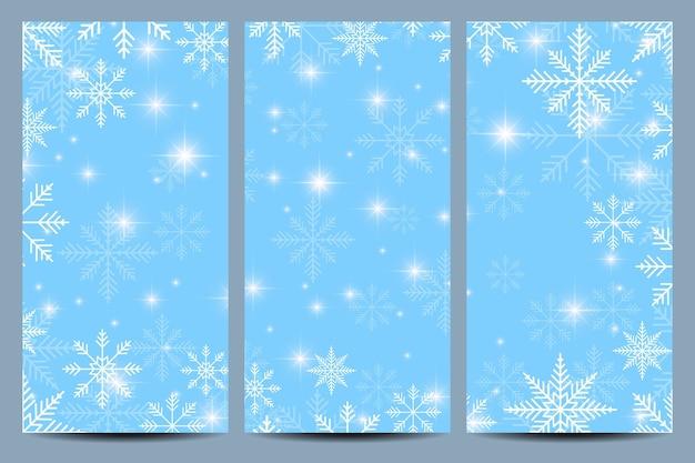 Felice anno nuovo volantini. sfondo blu con fiocchi di neve. modello di design moderno. Vettore Premium