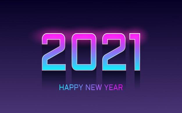 Effetto carattere felice anno nuovo con sfondo di colore luce al neon incandescente