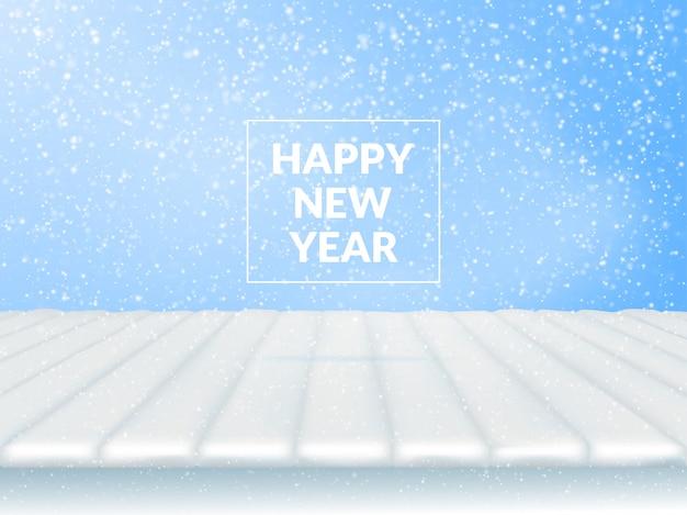 Felice anno nuovo. spazio libero dalle assi coperte di neve