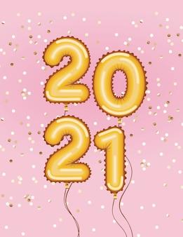 Felice anno nuovo palloncini d'oro con coriandoli