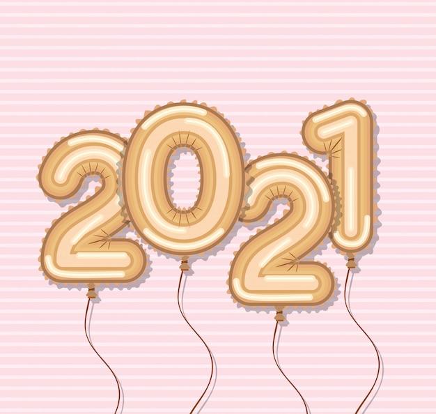Palloncini d'oro di felice anno nuovo